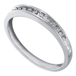 1/10 CTW Womens Round Diamond Single Row Band Ring 10kt White Gold - REF-12V2Y