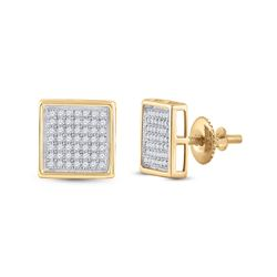 1/3 CTW Womens Round Diamond Square Earrings 10kt Yellow Gold - REF-20Y5N