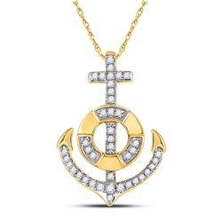 1/5 CTW Womens Round Diamond Anchor Nautical Pendant 10kt Yellow Gold - REF-31H4R