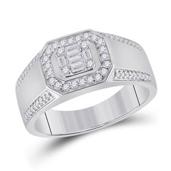 1/2 CTW Womens Baguette Diamond Octagon Cluster Ring 14kt White Gold - REF-79N3A