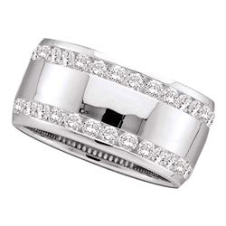 1 CTW Womens Round Channel-set Diamond Double Row Wedding Band Ring 14kt White Gold - REF-143Y2N