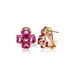 Genuine 7.6 ctw Pink Topaz Earrings 14KT Yellow Gold - REF-82W9Y