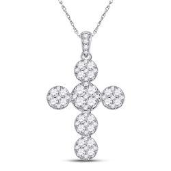 1 & 1/3 CTW Womens Round Diamond Cluster Cross Pendant 14kt White Gold - REF-95H5R