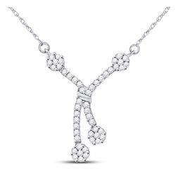 1/2 CTW Womens Round Diamond Dangle Flower Cluster Fashion Necklace 14kt White Gold - REF-58N5A