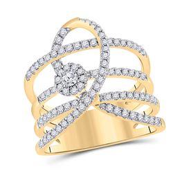 3/4 CTW Womens Round Diamond Loop Fashion Ring 14kt Yellow Gold - REF-120M2F