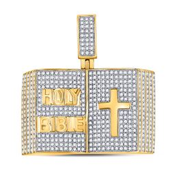 1 & 1/2 CTW Mens Round Diamond Bible Cross Charm Pendant 10kt Yellow Gold - REF-122F6W