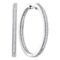 1/2 CTW Womens Round Diamond Inside Outside Hoop Earrings 10kt White Gold - REF-45T2V