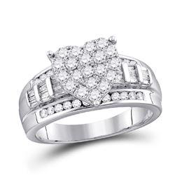 1/2 CTW Round Diamond Heart Bridal Wedding Engagement Ring 10kt White Gold - REF-45X2T