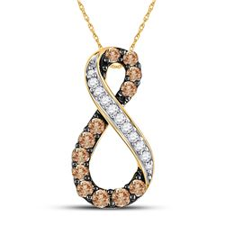 1/2 CTW Womens Round Brown Diamond Infinity Pendant 10kt Yellow Gold - REF-20T5V