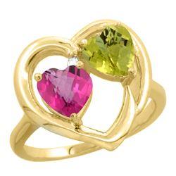 2.61 CTW Diamond, Pink Topaz & Lemon Quartz Ring 14K Yellow Gold - REF-33K5W