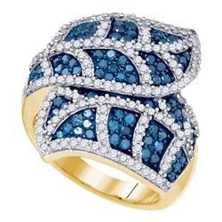 2 CTW Womens Round Blue Color Enhanced Diamond Leaf Fashion Ring 10kt Yellow Gold - REF-88A5M