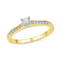 1/10 CTW Round Diamond Solitaire Bridal Wedding Engagement Ring 10kt Yellow Gold - REF-19A6M
