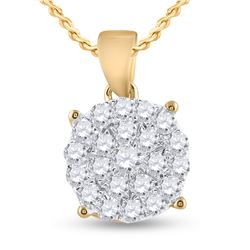 3/4 CTW Womens Round Diamond Cluster Pendant 10kt Yellow Gold - REF-53X3T