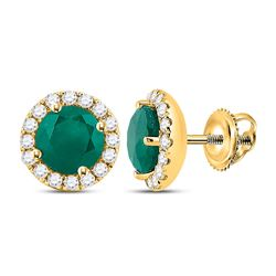 1 & 1/5 CTW Womens Round Emerald Diamond Halo Earrings 14kt Yellow Gold - REF-47R6X