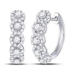1 CTW Womens Round Diamond Halo Hoop Earrings 14kt White Gold - REF-95T5V