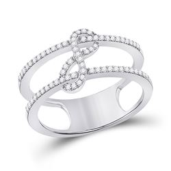 1/5 CTW Womens Round Diamond Negative Space Infinity Ring 10kt White Gold - REF-27V3Y