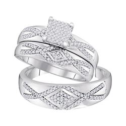 1/2 CTW His Hers Round Diamond Square Matching Wedding Set 10kt White Gold - REF-61R4X