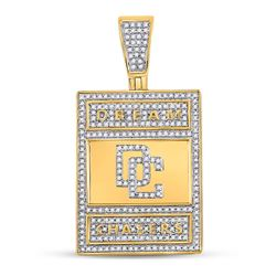 3/4 CTW Mens Round Diamond Dream Chasers Charm Pendant 10kt Yellow Gold - REF-91W3H