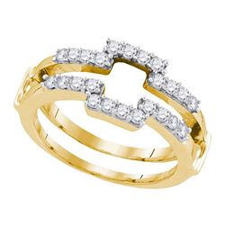 1/2 CTW Womens Round Diamond Square Solitaire Enhancer Wedding Band Ring 14kt Yellow Gold - REF-58Y2