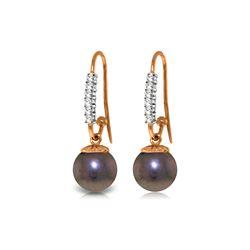 Genuine 8.18 ctw Pearl & Diamond Earrings 14KT Rose Gold - REF-37W6Y