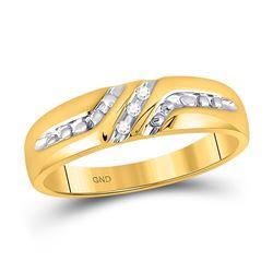 0.03 CTW Mens Round Diamond Wedding Band Ring 10kt Yellow Gold - REF-19M6F