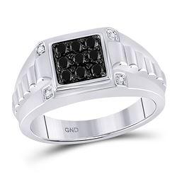 1/2 CTW Mens Round Black Color Enhanced Diamond Square Ring 10kt White Gold - REF-49A6M
