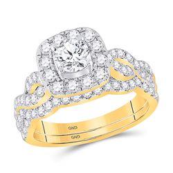 1 & 1/2 CTW Round Diamond Bridal Wedding Ring 14kt Yellow Gold - REF-238A5M