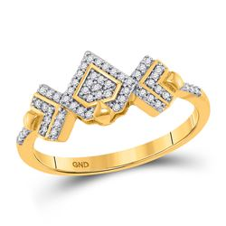 1/6 CTW Womens Round Diamond Geometric Fashion Ring 10kt Yellow Gold - REF-19F3W