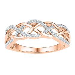 1/5 CTW Womens Round Diamond Braided Band Ring 10kt Rose Gold - REF-17W6H