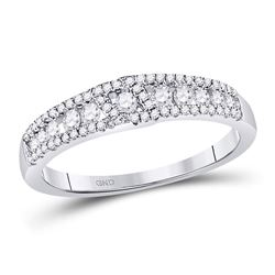 1/2 CTW Womens Round Diamond Anniversary Band Ring 14kt White Gold - REF-47N6A