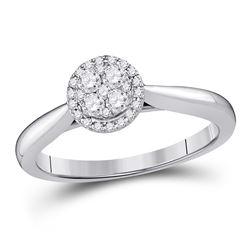 1/4 CTW Round Diamond Fashion Cluster Ring 14kt White Gold - REF-46H4R