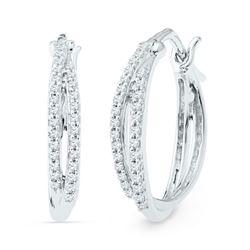 1/4 CTW Womens Round Diamond Double Row Hoop Earrings 10kt White Gold - REF-24T5V