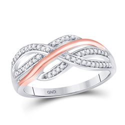 1/5 CTW Womens Round Diamond Crossover Strand Band Ring 10kt Two-tone White Rose Gold - REF-20R5X