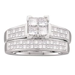 1 & 1/2 CTW Princess Diamond Bridal Wedding Ring 14kt White Gold - REF-197M6F