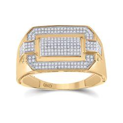1/3 CTW Mens Round Diamond Fashion Ring 10kt Yellow Gold - REF-51V8Y