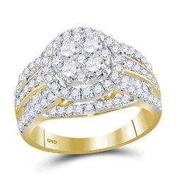 2 CTW Round Diamond Halo Bridal Wedding Engagement Ring 14kt Yellow Gold - REF-163W5H