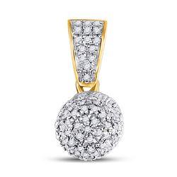 1/2 CTW Mens Round Diamond Pill Capsule Charm Pendant 10kt Yellow Gold - REF-27H3R