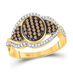 1/2 CTW Womens Round Brown Diamond Oval Frame Cluster Ring 10kt Yellow Gold - REF-34M8F