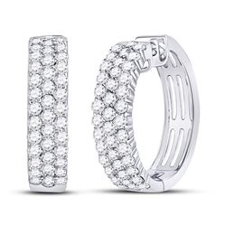 1 & 1/2 CTW Womens Round Diamond Hoop Earrings 10kt White Gold - REF-103A6M