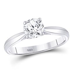 3/4 CTW Womens Round Diamond Solitaire Bridal Wedding Engagement Ring 14kt White Gold - REF-109H2R