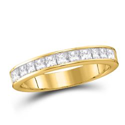1/4 CTW Womens Princess Diamond Wedding Band Ring 14kt Yellow Gold - REF-38H9R