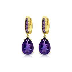 Genuine 13.2 ctw Amethyst Earrings 14KT Yellow Gold - REF-67Z5N