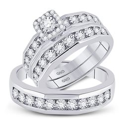 3/8 CTW His Hers Round Diamond Solitaire Matching Wedding Set 10kt White Gold - REF-74R9X