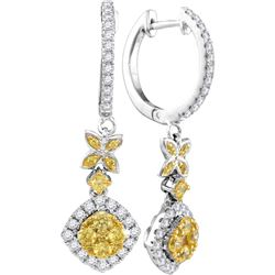 1 CTW Womens Round Yellow Diamond Cocktail Dangle Earrings 14kt White Gold - REF-113A2M