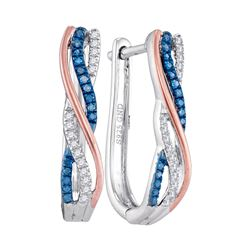 1/6 CTW Womens Round Blue Color Enhanced Diamond Hoop Earrings 10kt Two-tone Gold - REF-24F5W