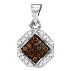 1/4 CTW Womens Round Brown Diamond Geometric Cluster Pendant 10kt White Gold - REF-10X9T