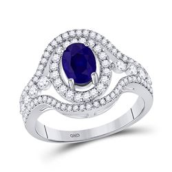 1 & 1/2 CTW Womens Oval Blue Sapphire Diamond Solitaire Ring 14kt White Gold - REF-85R8X