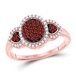 1/3 CTW Womens Round Red Color Enhanced Diamond Oval Cluster Ring 10kt Rose Gold - REF-22N5A