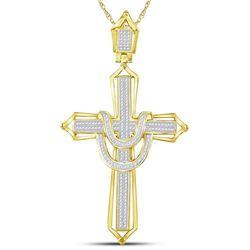 1/2 CTW Mens Round Diamond Cross Charm Pendant 10kt Yellow Gold - REF-71H6R