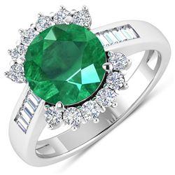 Natural 3.18 CTW Zambian Emerald & Diamond Ring 14K White Gold - REF-157M7T